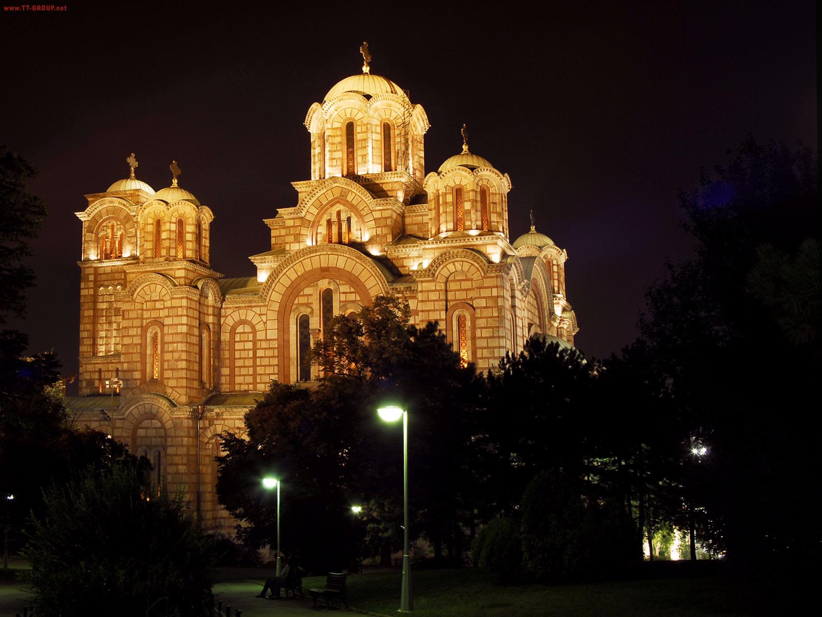 Crkva Svetog Marka, noćna fotografija