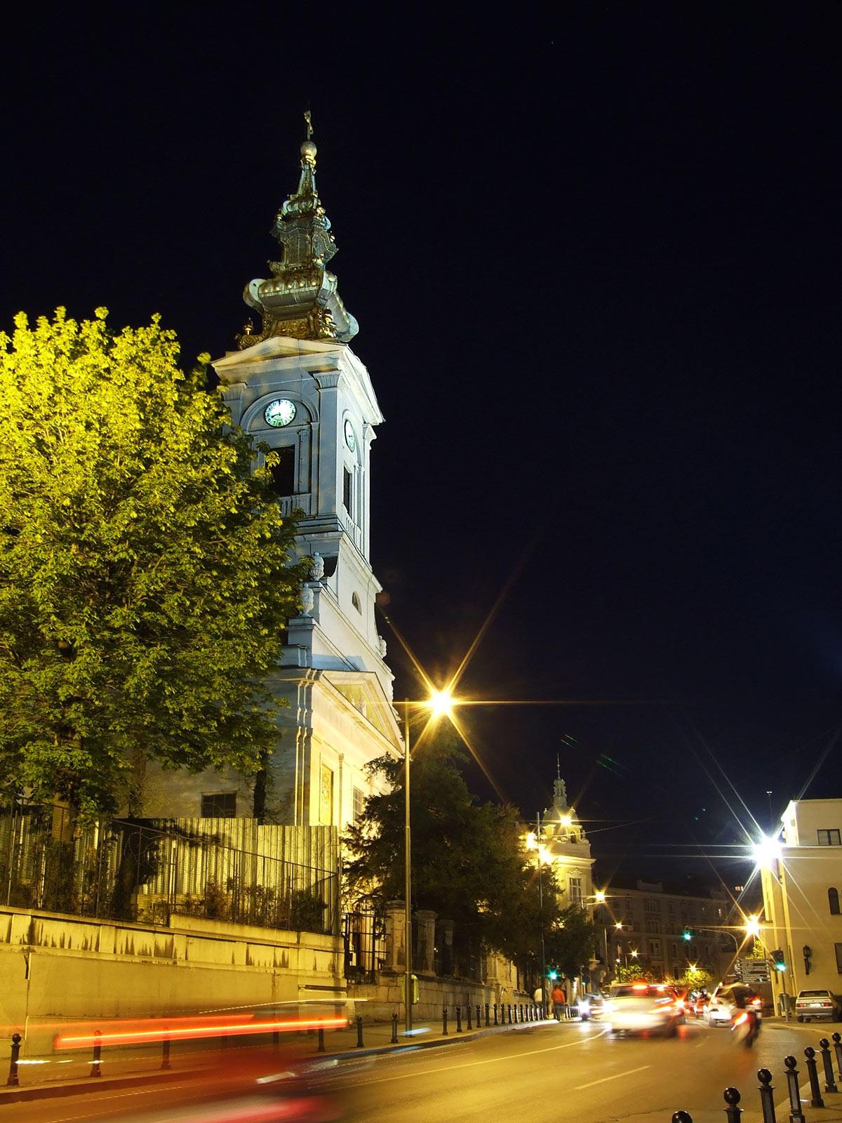 Saborna crkva u Beogradu, slika noću
