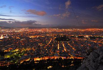 Noćni snimak panorame Atine