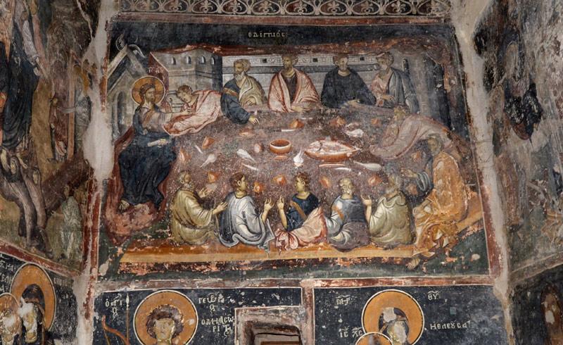 Tajna večera, verovatno najlepša freska u crkvi. Sklad boja je izuzetan.